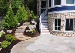 Door County Gray Outcroppings Flagstone and steps