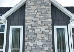 Harbor blue and stone harbor gray chimney
